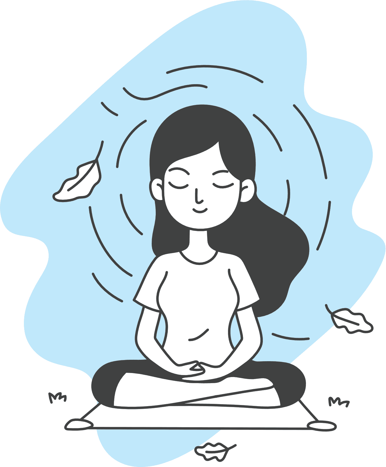 A girl is doing meditation