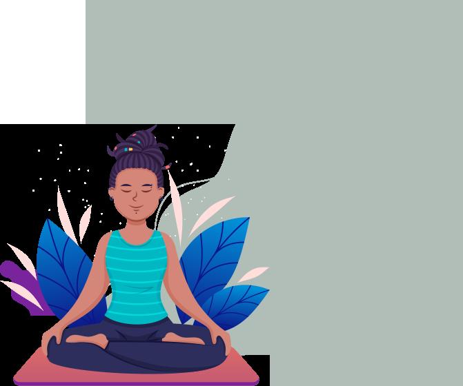 A girl is doing yoga