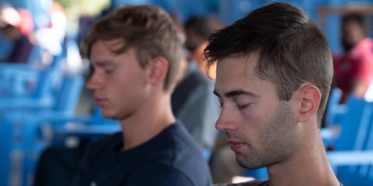 Two boys meditating the heartfulness way