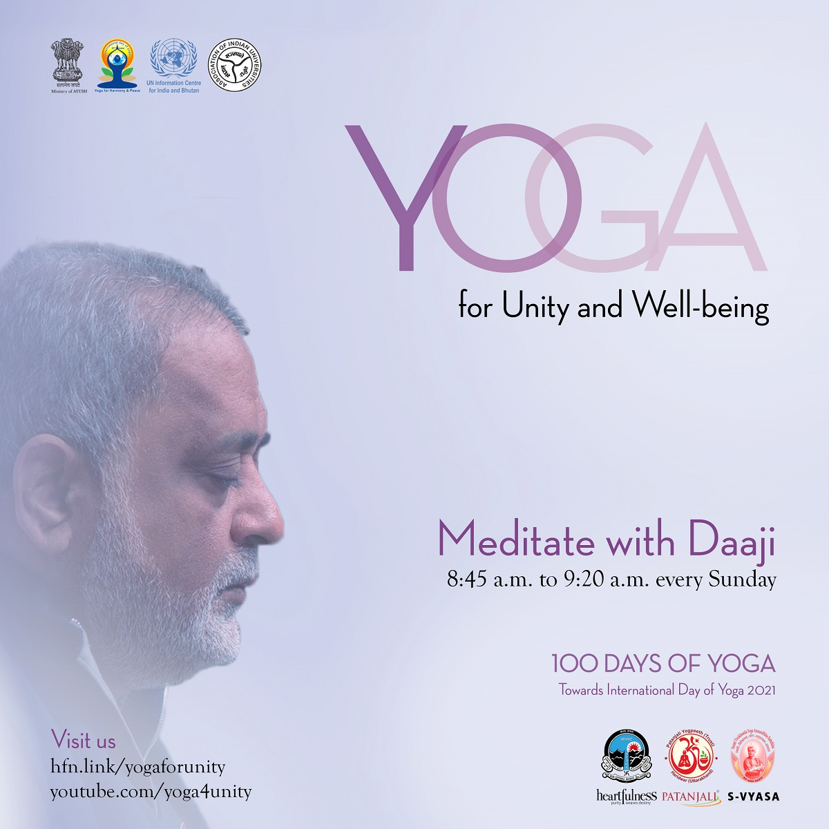 flyer of 100 days of yoga event
